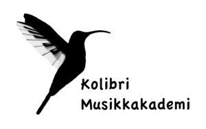 Musikkskole og kulturskole Kolibri Musikkakademi logo, fugl med piano på vingene