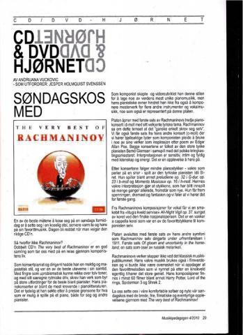 artikel om Rahmaninov CD hjørnet