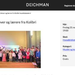 Deichmanske bibliotek Kolibri musikkskole konsert, kulturskole Oslo Stavanger pianolærer musikktimer pianoundervisning sang elever spiller barna spiller lær å spille